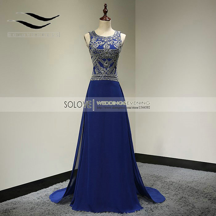 Scoop Neck Champagne Beaded Berat Bling Bling Royal Blue Kristal Prom Dress 2015 pernikahan & de fIesta Evening Gowns SL-P107