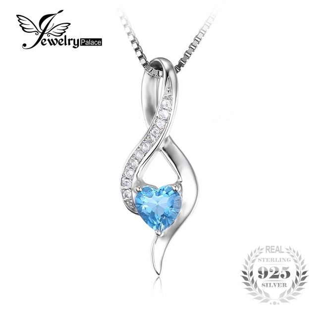JewelryPalace Heart Love 0.6ct Genuine Blue White Topaz Pendant For Women Pure 925 Sterling Silver Jewelry Not Include the Chain