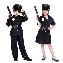 Umorden Child Kids Police Officer Cops Costume for Boys Girls Black Uniform Policeman Role Play Outfit Dress Halloween Cosplay chlidren s policeman cosplay costume policeman costume with durable case police officer costume for kids