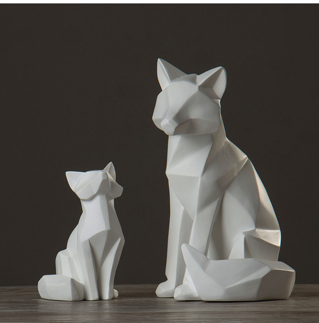 simple white abstract geometric fox sculpture ornaments Creative modern Nordic geometric decoration home living room AP503915 1