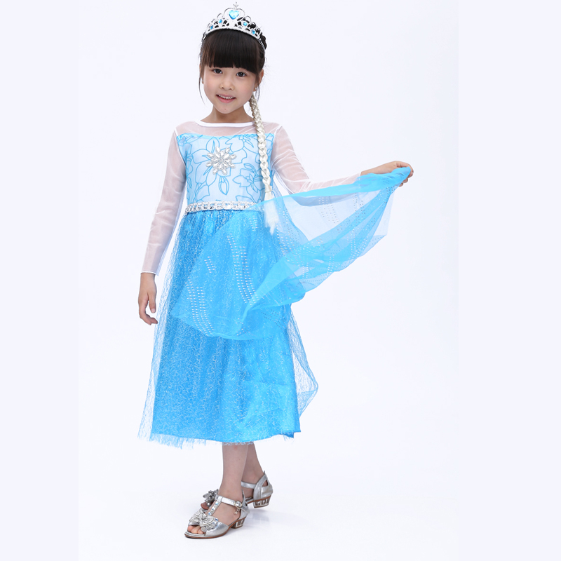 Free shipping 2016 new children's  princess dress girls dress cosplay ELSA  Queen Kids summer skirt dress show