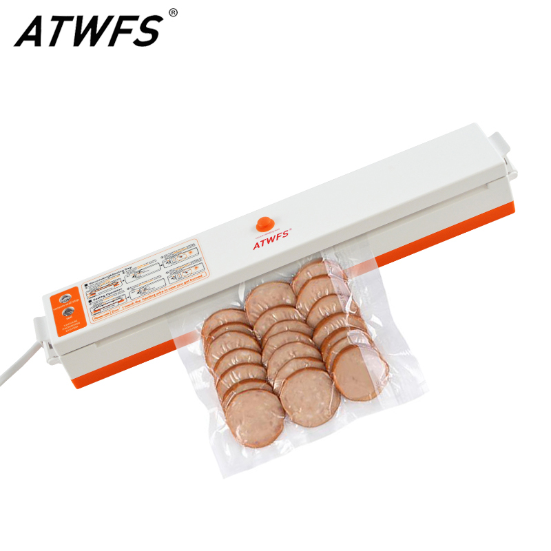 ATWFS Food Vacuum Sealer Packing Household Film Sealer Vacuum Packer Machine Including 15Pcs Bags