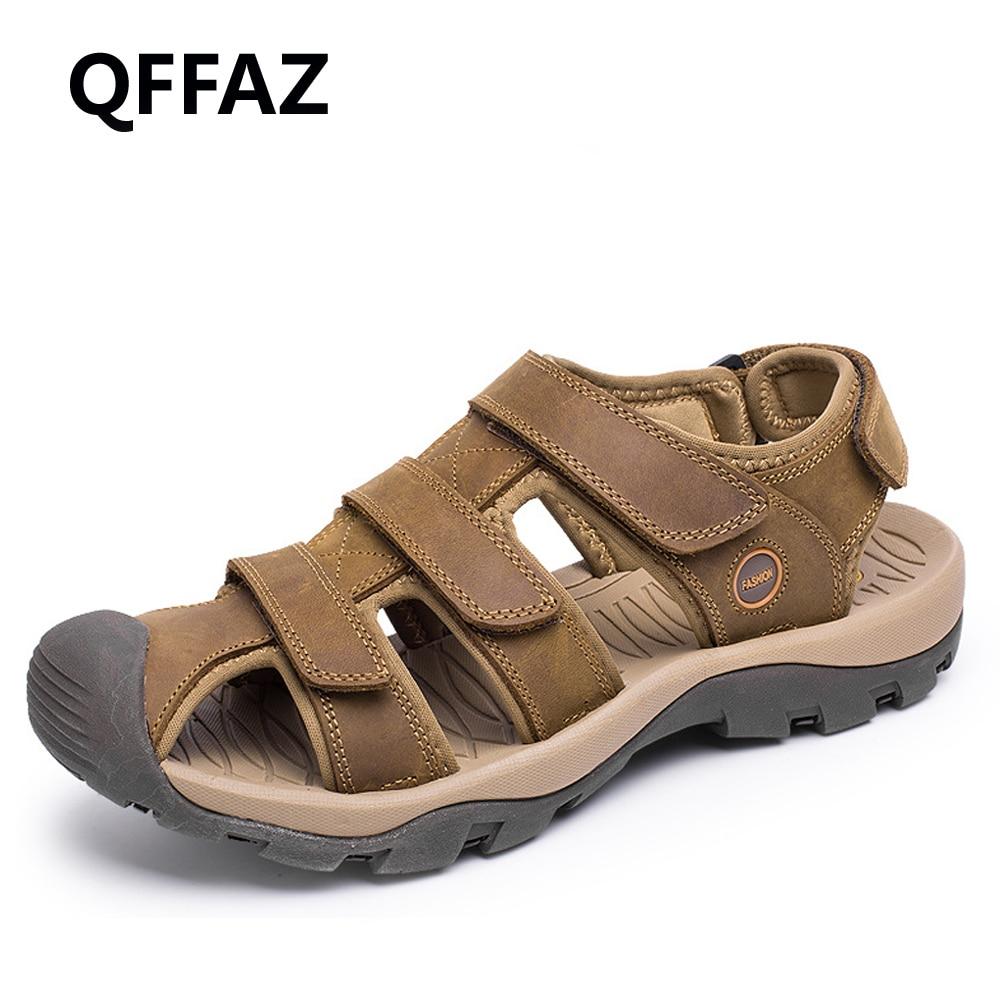 QFFAZ 2018 New Summer High Quality Men Genuine Leather Sandals Comfortable Shoes Fashion Flat Male Sandals Big Size 38-46