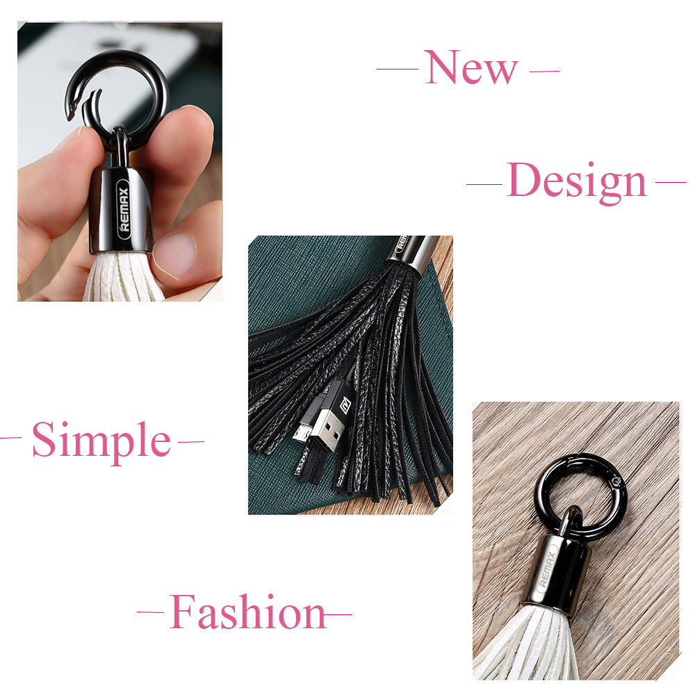 Image 3 - Remax Leather Tassel key chain USB Cable 3A fast charger cables mini usb Data Transfer Charger for iPhone 5 6s 7 8 plus XS Cord-in Mobile Phone Cables from Cellphones & Telecommunications