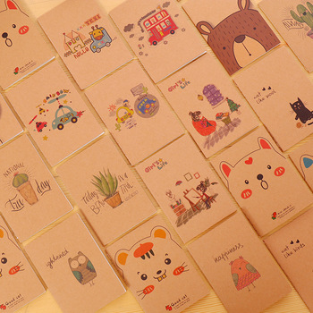 4PCS Kawaii Cartoon Creative Stationery Office Supplies School Kraft paper Notebook Diary Panda cat Notepad Color Children gifts Notebooks