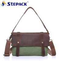 Vintage Canvas Shoulder Bag Messenger Bag Leisure Crazy Horse Leather Soft Men Travel Bag Hasp Cover