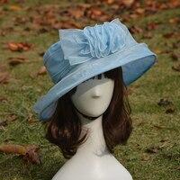 A066 Синяя Атласная Цветочный Печати Женщины Винтаж Венчание Кентукки Дерби Шляпа