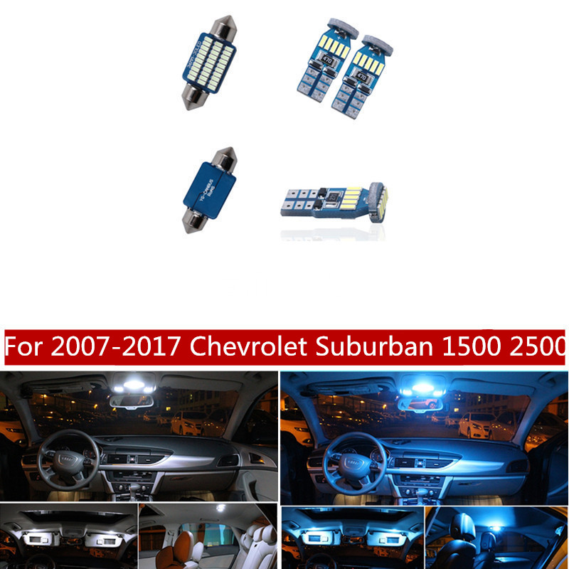 14Pcs Canbus LED Lamp Car Bulbs Interior Package Kit For 2007-2017 Chevrolet Suburban 1500 2500 Map Dome Trunk Light