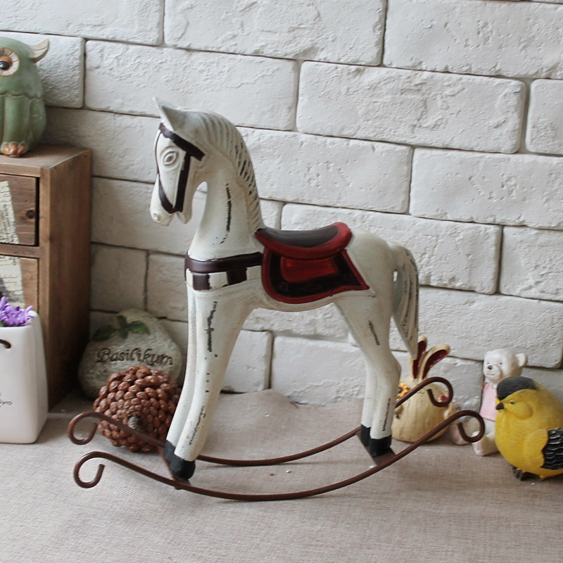 American Country Retro Wood Craft Rocking Horse Decoration Vintage Home Decor Wedding Gift Furnishing Jewelry Ornaments In Figurines Miniatures From
