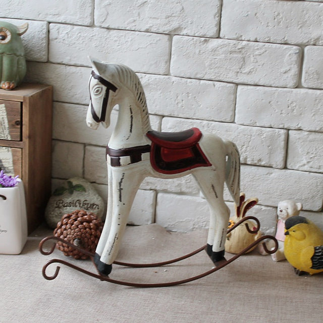 American Country Retro Wood Craft Rocking Horse Decoration Vintage Home Decor Wedding Gift Furnishing Jewelry Ornaments