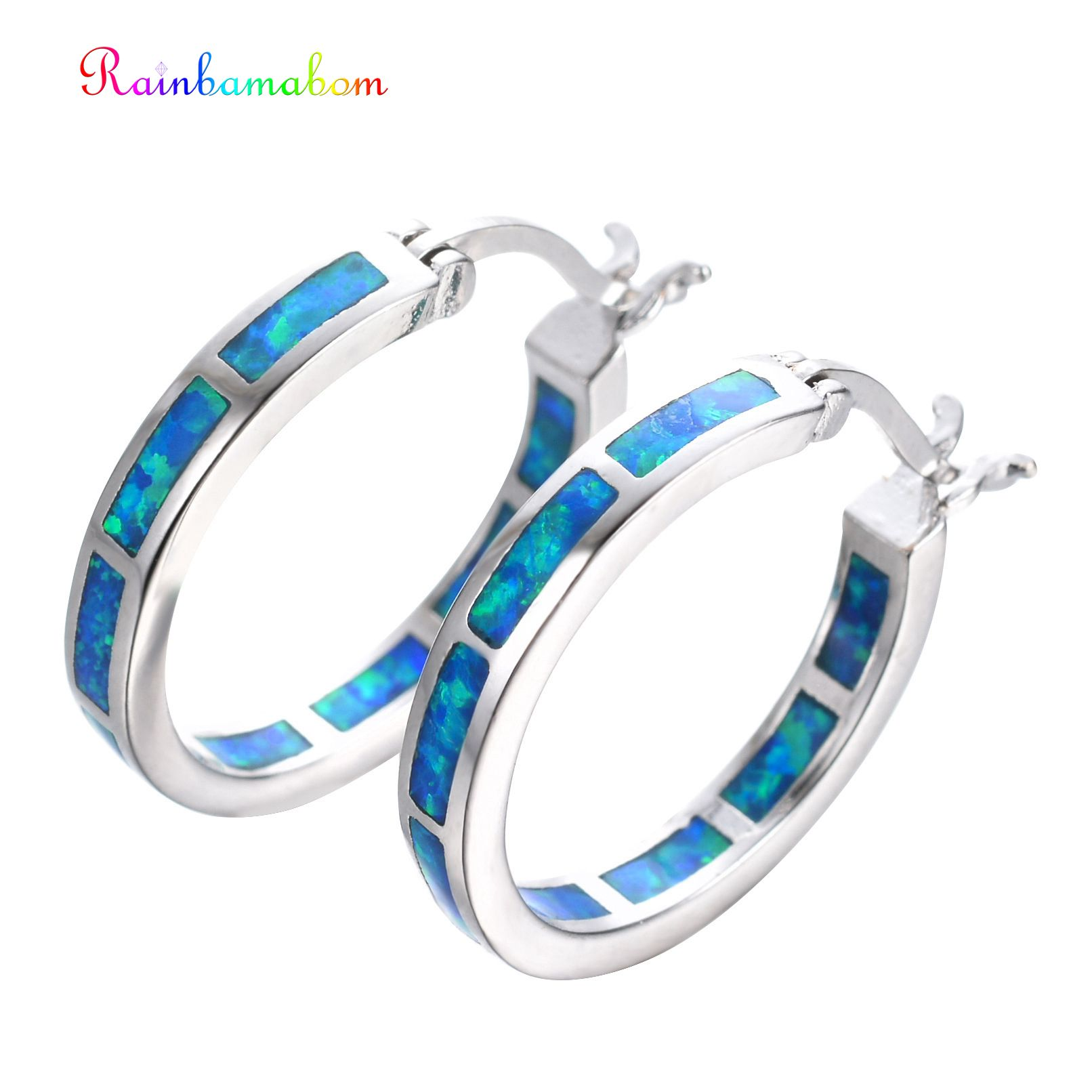 Rainbamabom Real 925 Solid Sterling Silver Opal Gemstone White Gold Hoop Earrings Engagement Wedding Fine Jewelry Gift Wholesale