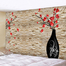 Vase On The Stone Wall Printed Tapestry Wall Hanging Large Size Wall Tapestry Cheap Hippie Boho Wall Tapestries Mandala Fabric plant leaves in the vase printed tassel wall hanging painting