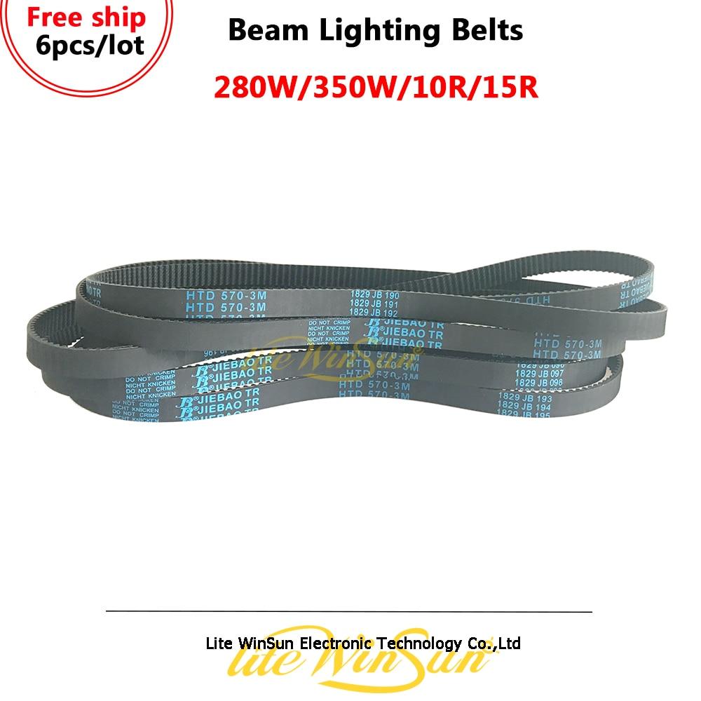 Litewinsune 6 pcs Cintos Correias HTD 570 M 10 3 Pan Tilt para Feixe 10R 15R 280 W 350 W movendo a Cabeça de Iluminação