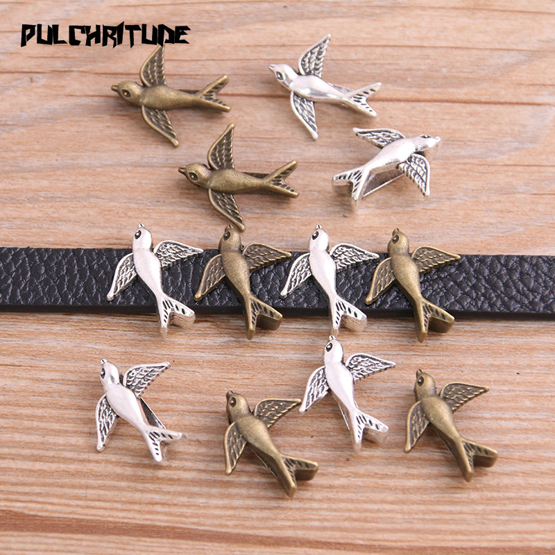 14pcs Two Color Bird Wheel Spacers Adapters Slider Spacer Jewelry Material Spacers For Jewelry Making For 10mm Leather Cord