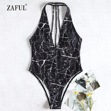 ffeb0e6965 ZAFUL 2018 High Cut Swimsuit Sexy Plunging Neck Marble Padded Strappy One  Piece