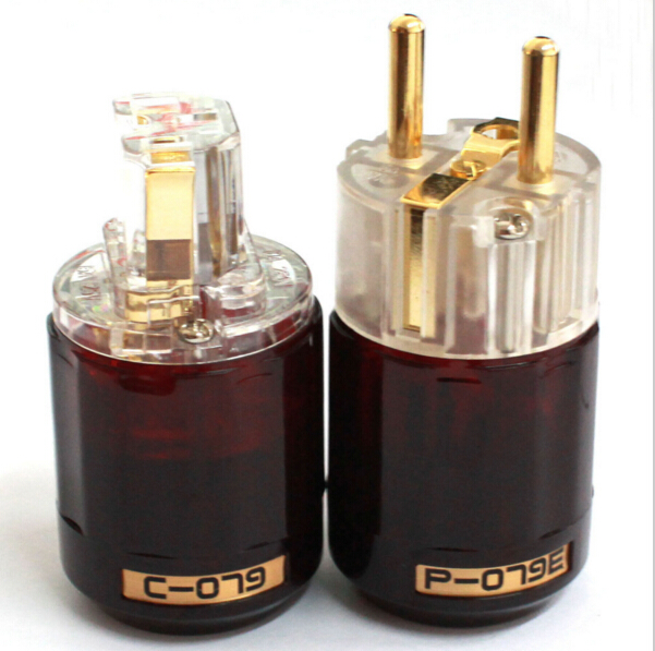 1 pair Gold Plated Japan Oyaide P-079E+ C-079 IEC 24k Gold Plated EU Schuko Power plug Connector