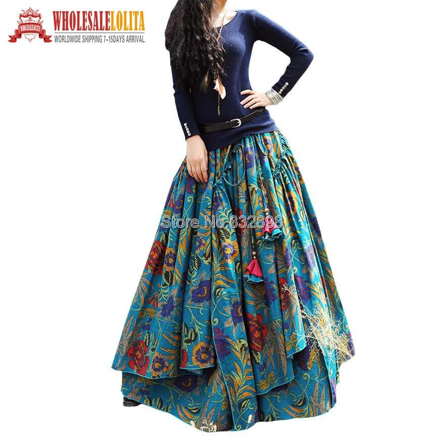 Nouveau haut tendance vente longue fluide épais coton multicolore imprimé jupes Style bohème ethnique imprimé jupe en lin