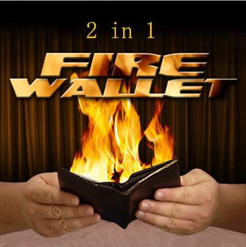 2 In 1 Fire Wallet - Magic Trick,Stage Magic Props,Street,Card Magic,Close Up,Fun,Illusions,Magician Wallet,Classic Magia Toys