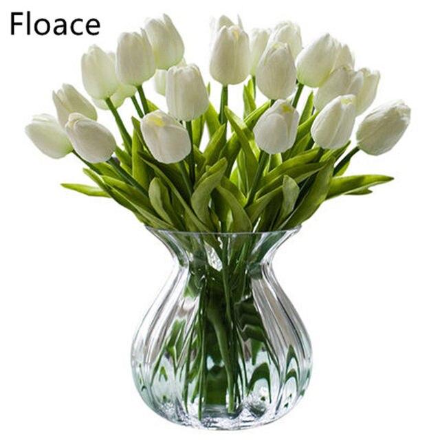 Floace 25pcs Lot Pu Tulip Artificial Flowers Wedding Home Decorative Decoration Flower 9 Color No Vase