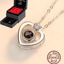 Amxiu Projectie 100 Talen I Love U 100% 925 Zilveren Hanger Ketting Voor Vrouwen Meisjes Ketting Valentijnsdag Gift sieraden