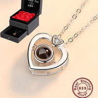 Amxiu Projection 100 Languages I Love You 100% 925 Silver Pendant Necklace For Women Girls Necklace Valentine's Day Gift Jewelry