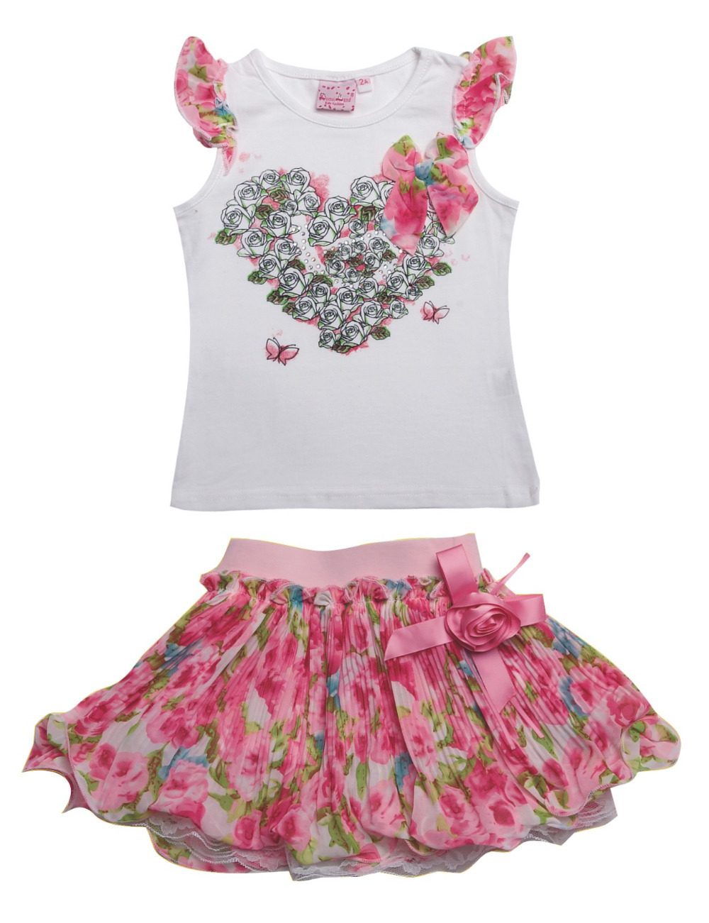 2016 fashion summer children clothing Boutique Outfits kids cute girls ruffle Valentine ...