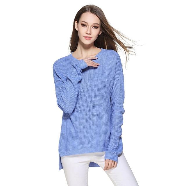 Sweater Shirt Women Jumper 2019 Spring Oversized Sweater Long Sleeve Women Knitwear Blue Loose Sweater Female Pullover W002003