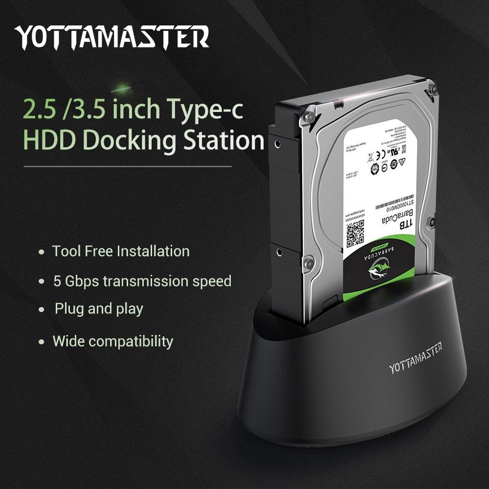 Yottamaster USB3.1 Gen1 tipo C estación de acoplamiento de disco duro externo SATA 3,0 para 3,5 pulgadas 2,5 HDD SSD soporte 10 TB y UASP