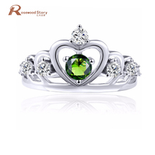 Fashion Female Peridot Crown Ring 925 Sterling Silver Filled Handmade Jewelry Vintage Wedding Rings August Birthstone Ring