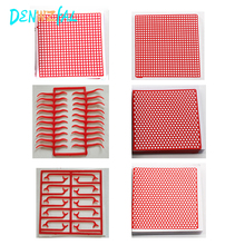 6 Boxes Dental Lab Material red Wax Mesh  Net Round Hole Square Grid Clasp Shape Sheet For Cast Metal Partial