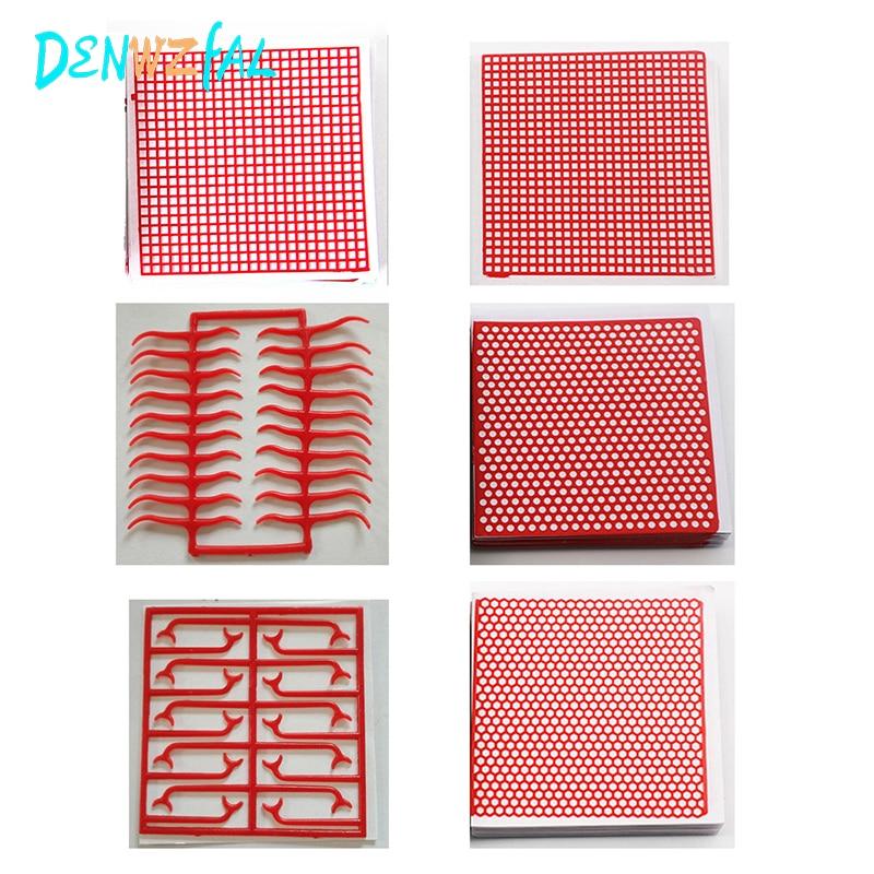 6 boîtes matériel de laboratoire dentaire dentaire rouge cire maille filet rond trou carré grille fermoir forme feuille de cire pour métal coulé partiel