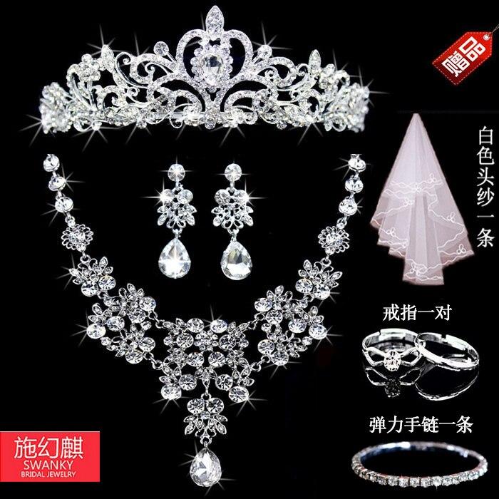 2016 nova prata cristal colar conjuntos de brincos de para mulheres conjuntos de joias de joias de casamento Whit K chapeado noiva