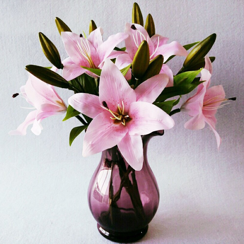 Aliexpress Buy 10pcslot Artificial Flower Lily Flowers