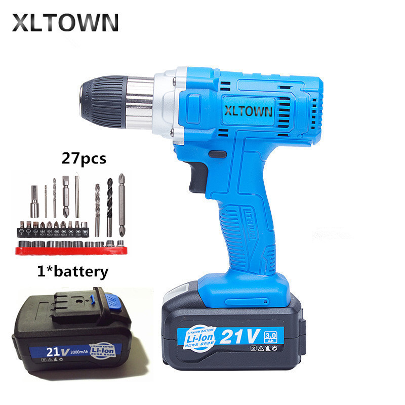 Xltown 21v 80NM cordless drill high-capacity rechargeable lithium battery Electric screwdriver Household electric drill bits xltown 21v electric screwdriver multifunction rechargeable lithium drill electric household cordless electric drill power tools