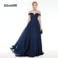 Темно синие мать невесты платье 2019 Милая с плеча пикантный шифон с открытой спиной Линия вечернее платье с длинным элегантные вечерние плат