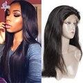 Ali moda Malasio Recto Sedoso Pelucas Delanteras Del Cordón Virginal Malasio Glueless del pelo Humano Del Frente del Cordón Peluca de Pelo Negro Para mujeres