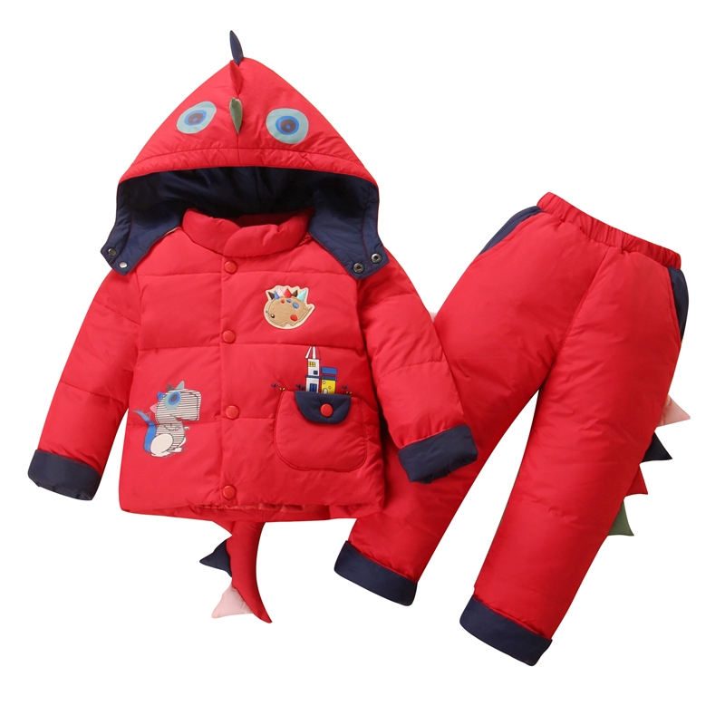 2017 winter children's dino style set pants wadded children jackets boys warm down coats girls thicken hooded waded outrwears 2017 fashion boy winter down jackets children coats warm baby cotton parkas kids outerwears for