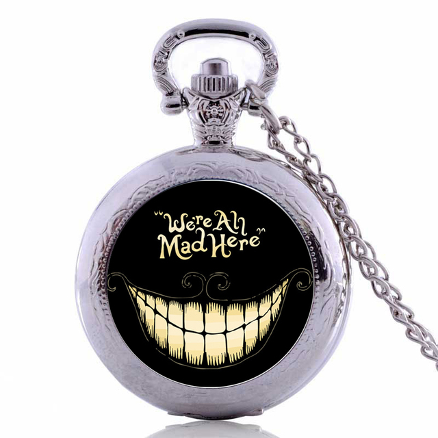 New Arrivals Alice in Wonderland We're All Mad Here Quartz Pocket Watch Analog P