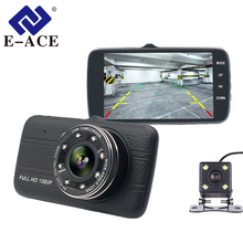 Buy E-ACE Car Dvr Camera 4.0″ Full HD 1080P Dash Cam Auto Registrator Dual Lens Night Vision With Rear View Mirror Video Recorder