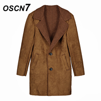 OSCN7 Cashmere Winter Suede Trench Coat Camel Fashion 2018 Casual Plus Size Mens Coats Fleece Trench Men 1690