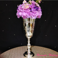 on Sale Stunning Silver Tall Small Metal Flower Vases Trophy Shape 2 Sizes Centerpiece for Wedding Event Party Decoration