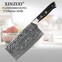 XINZUO 7'' Professional Kitchen Cleaver Knife Japanese High Carbon VG10 Damascus Stainless Steel Ergonomics Handle,Ultra Sharp