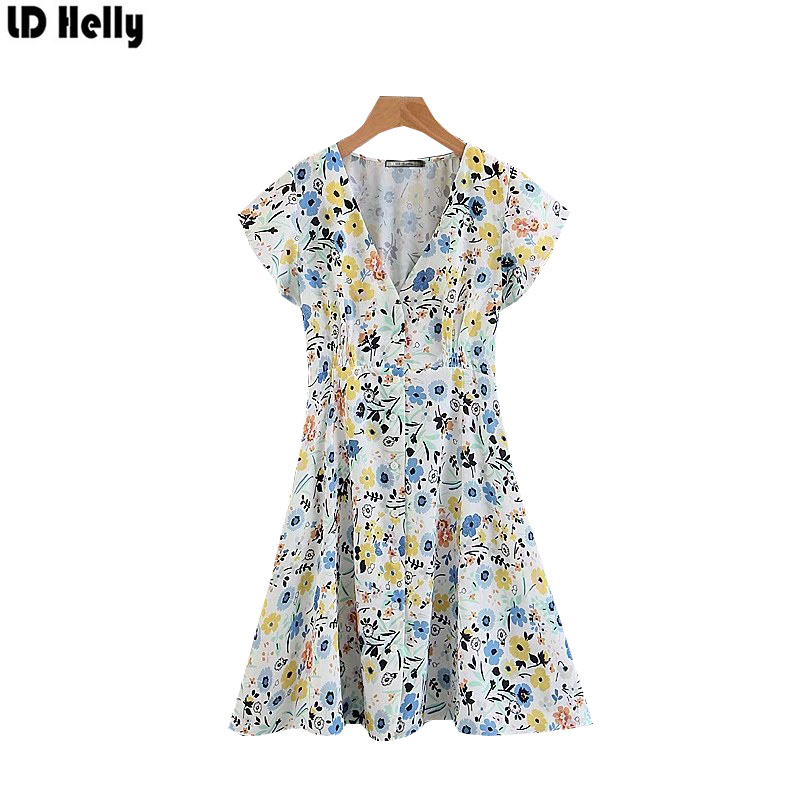 LD Helly Summer 2018 Women Floral Printed Dress Sexy V-Neck Short Sleeve Mini Dresses Female Sweet A-Line Dess Vestidos