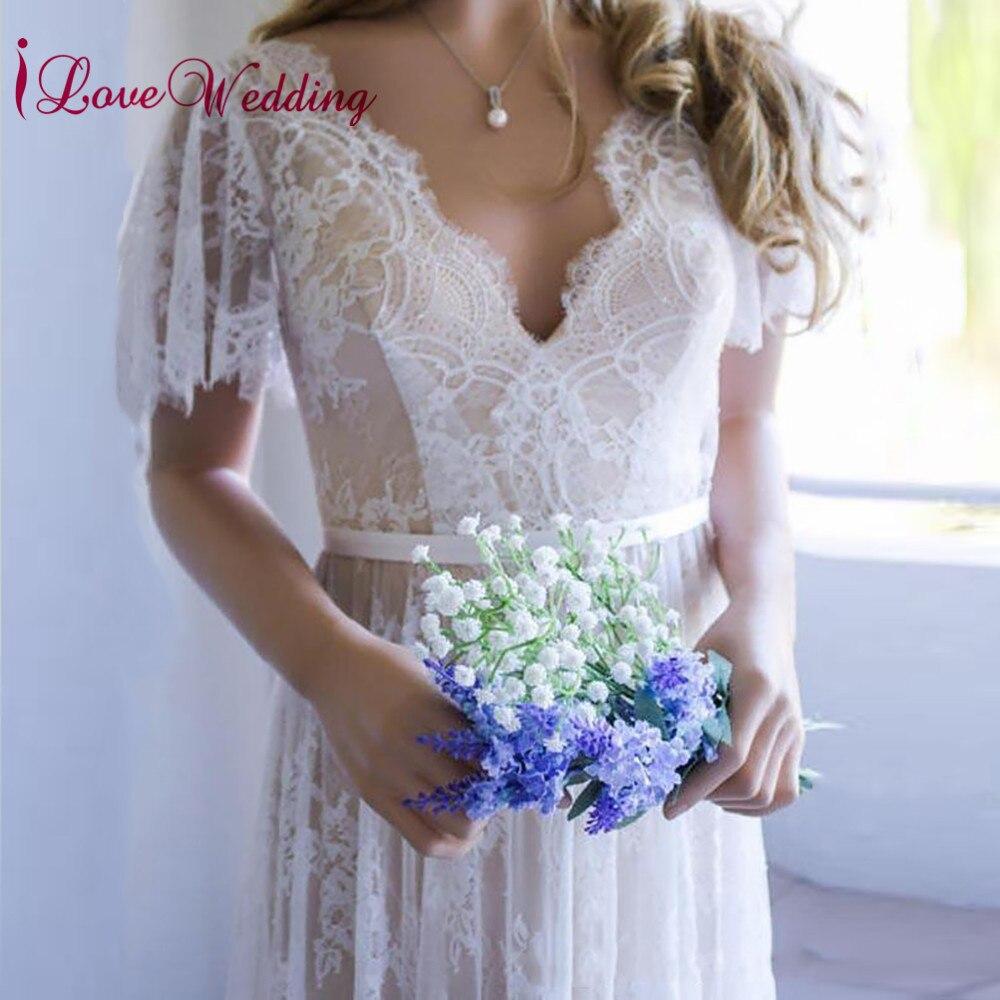 Vestido de noiva 2019 Sexy V Neck Lace Custom made Short Sleeves Elegant V Back Beach boho wedding dress