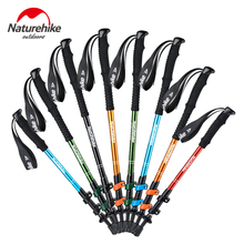 2017 NEW Brand Naturehike Alpenstocks Ultralight Trekking Folding Pole Walking Hiking sticks camping family