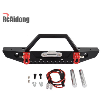 1/10 RC Car Metal Front Bumper with LED Lights for Axial SCX10 90046 90047 Traxxas TRX-4 TRX4 RC Rock Crawler 2019 new car body cab with back half cage for 1 10 rc crawler trx4 axial scx10 90046 car shell