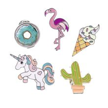 Hoomall Kawaii Icons Flamingo Metal Enemal Pins Badges Cartoon Icons Backpack Decoration Badges For Clothes(China)