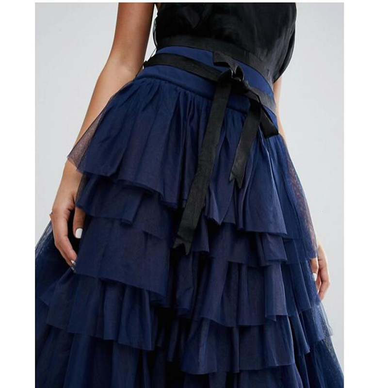 Cinta Saia Con Tulle Del Por Encargo Dark Partido Formal Tiered Mujeres Tutu Largas Navy Azul Baile Sash Tobillo Falda Faldas pPpRqBA