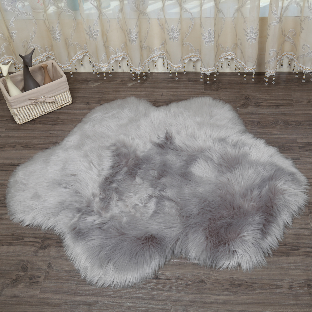 MUZZI Luxury new flower cloud shape Sheepskin Rug Chair Cover Bedroom Mat faux leather Warm Hairy Carpet Fur Area Rugs in Carpet from Home Garden