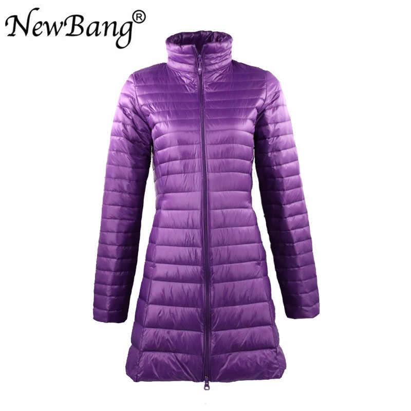 NewBang Plus 6XL 7XL женский ультра легкий пуховик с сумкой для переноски осеннее ветрозащитное теплое длинное пуховое пальто